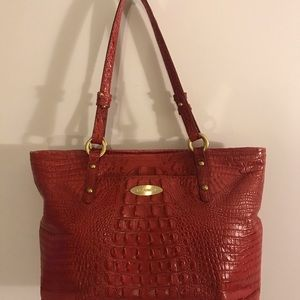 Brahmin Red Melbourne Leather Croc Embossed Bag L